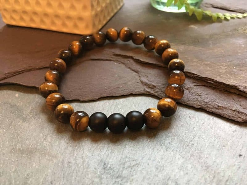 Tigers Eye Bracelet With Matte Black Onyx Stone Beads
