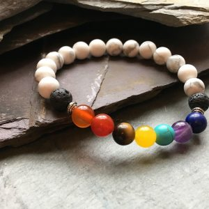 7 Chakras and Howlite Bead Bracelet with Lava Stone
