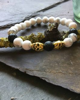 Skull Diffuser Bead Bracelet with Howlite and Lava Stone