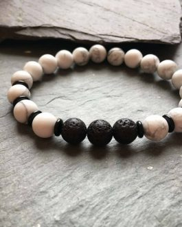 Howlite, Onyx and Lava Stone Diffuser Bracelet