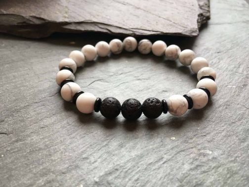 Howlite, Onyx and Lava Stone Diffuser Bracelet