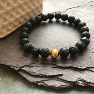 Lava Rock Stone and Gold Plated Bead Bracelet. Aromatherapy Essential Oils Diffuser.