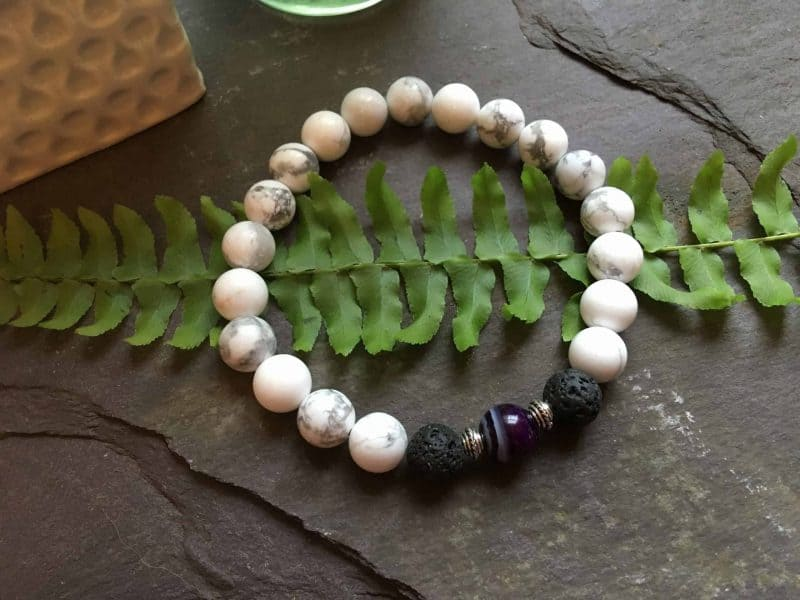 White Howlite, Purple Onyx and Lava Stone Bead Bracelet. Essential Oils Aromatherapy