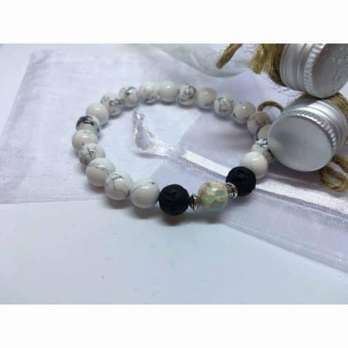 Howlite, Baby Blue Regalite and Lava Stone Bead Bracelet.
