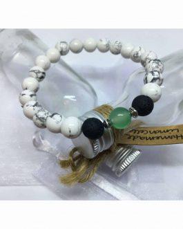 White Howlite, Green Onyx and Lava Stone Diffuser Bead Bracelet