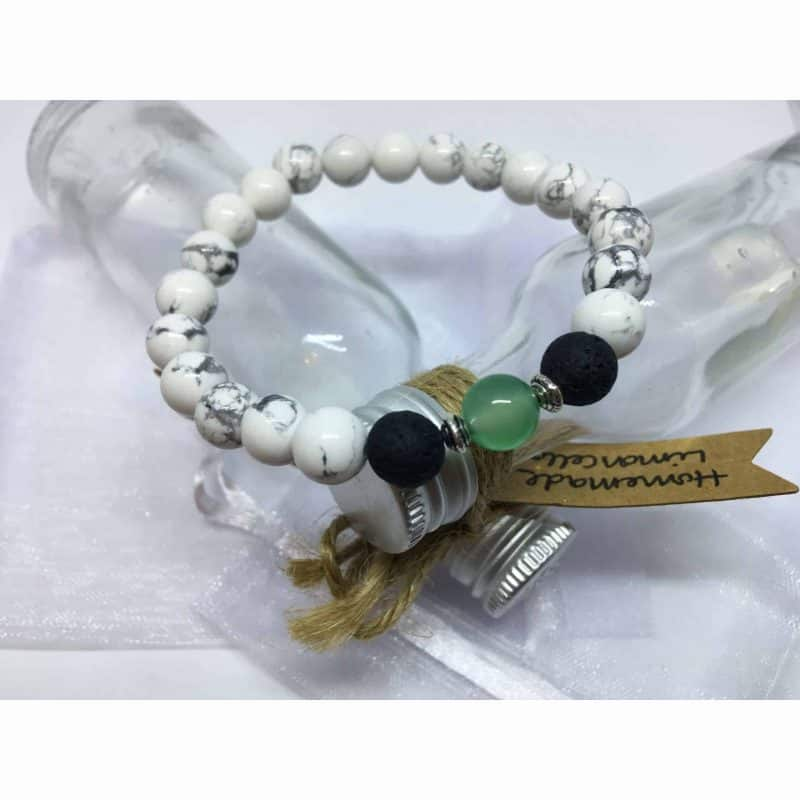 White Howlite, Green Onyx and Lava Stone Diffuser Bead Bracelet