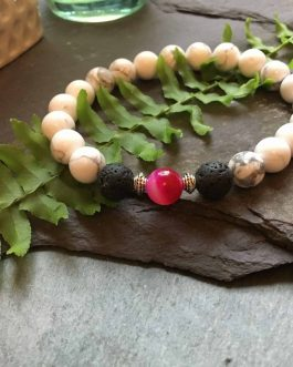 White Howlite, Pink Onyx and Lava Stone Bead Bracelet. Essential Oils Aromatherapy