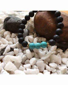 Lava Rock and Fresh Green Turquoise Bead Bracelet