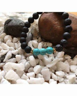 Lava Rock and Fresh Green Turquoise Bead Bracelet
