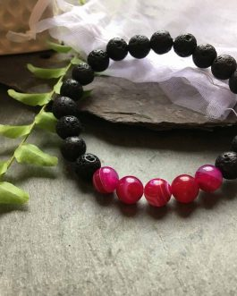 Lava Rock Stone and Pinky Red Onyx Fashion Bracelet