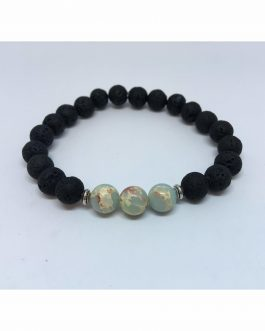 Lava Rock and Baby Blue Regalite Fashion Bead Bracelet.