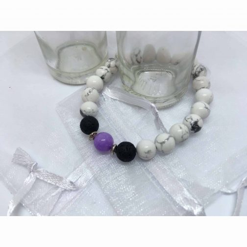 White Howlite, Jade and Lava Stone Bead Bracelet. Essential Oils Aromatherapy