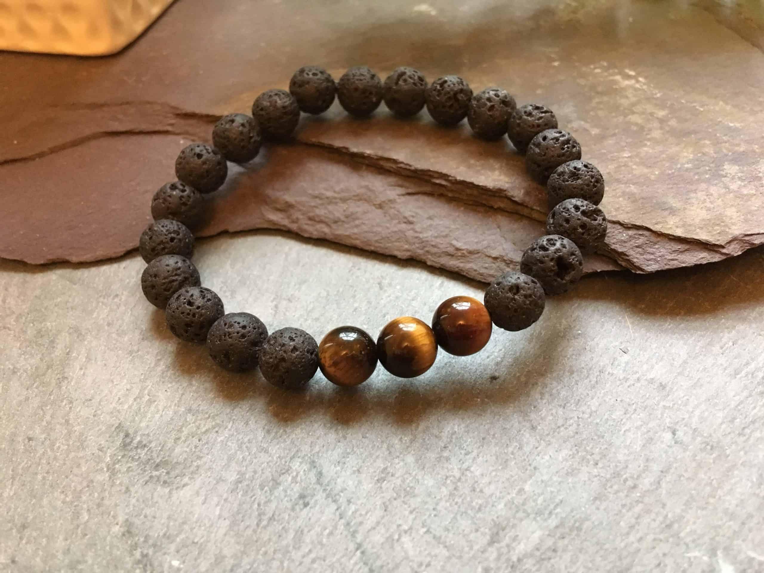 Lava Rock Stone and Tigers Eye Fashion Bracelet. Essential Oils Diffuser.
