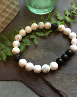 White Howlite, Onyx and Lava Stone Fashion Bead Bracelet. Great for Essential Oils