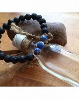 Lava Rock Stone and Blue Regalite Fashion Bead Bracelet