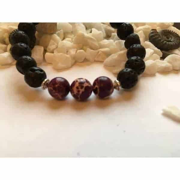 Lava Rock Stone and Purple Regalite Fashion Bead Bracelet