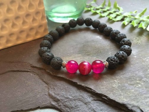 Lava Rock Stone and  Pink Red Onyx. Aromatherapy Essential Oils Diffuser Bead Bracelet.