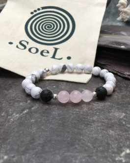 Howlite and Rose Quartz Diffuser Bracelet