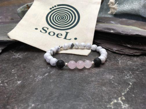 Howlite and Rose Quartz Diffuser Bracelet