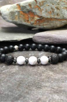 Onyx, Howlite and Lava Stone Bracelet