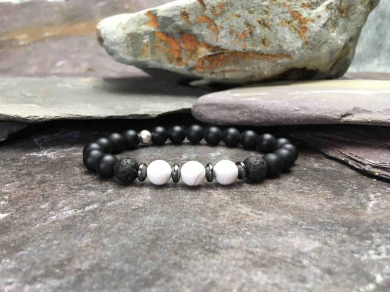 Onyx Beaded Bracelet with Howlite and Lava Stone