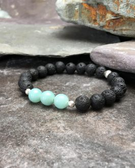 Lava Stone and Amazonite Bead Bracelet