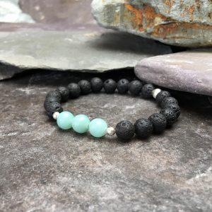 Lava Stone and Amazonite Bead Bracelet