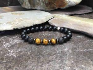 Onyx, Tigers Eye and Lava Stone Bracelet