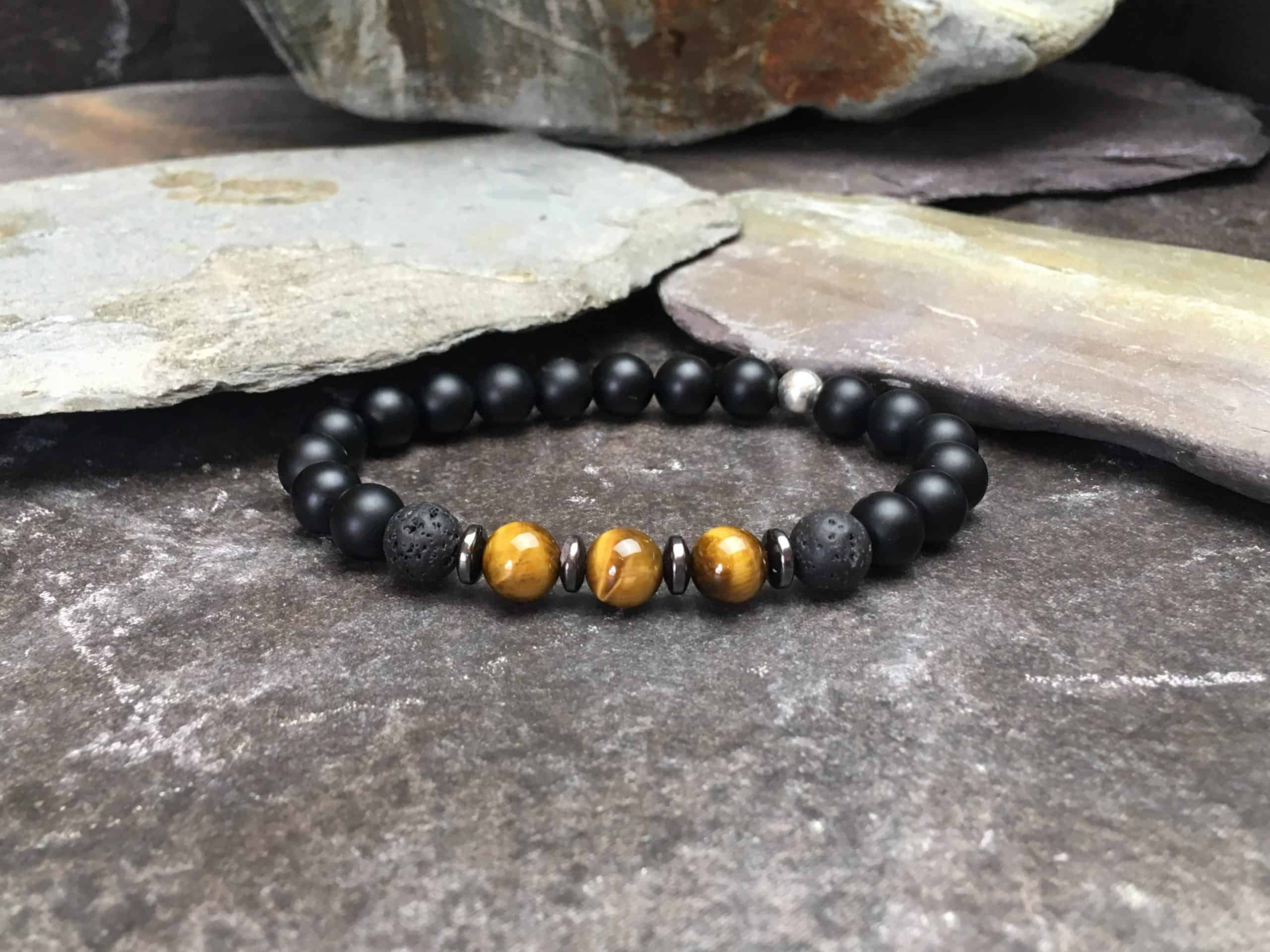 Onyx, Tigers Eye and Lava Stone Bracelet