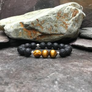 10mm Tigers Eye and Lava Stone Diffuser Bracelet
