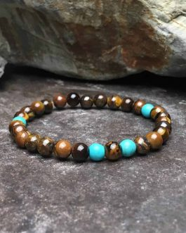 Tigers Eye and Turquoise 6mm Bead Bracelet