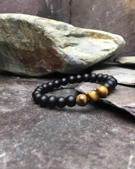 Matte Black Onyx and Tigers Eye Stone Bead Bracelet