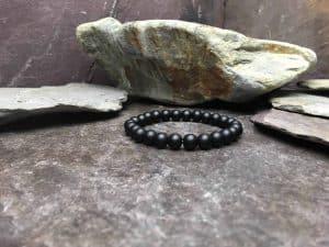 Plain Matte Black Onyx Bead Bracelet