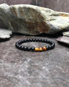 6mm Onyx and Tigers Eye Bead Bracelet