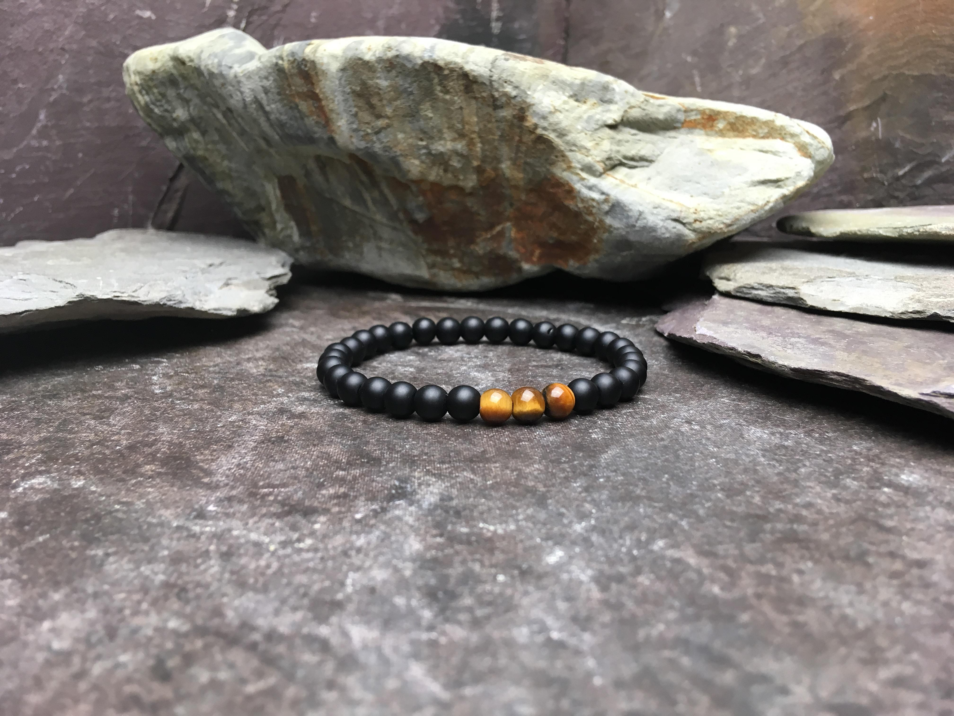 6mm Onyx and Tigers Eye Bead Bracelet