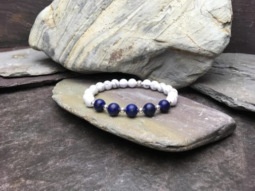 Grade A Lapis Lazuli and Howlite Beaded Bracelet