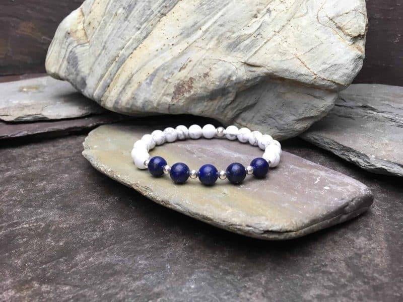 Grade A Lapis Lazuli and Howlite Beaded Bracelet