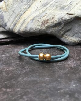 Turquoise Slim Leather Double Wrap Bracelet