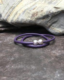 Slim Berry Leather Double Wrap Bracelet