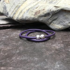 Slim Berry Leather Double Wrap Bracelet