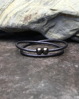 3mm Gun Metal Leather Double Wrap Bracelet