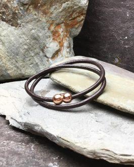 Brown Plain Leather Double Wrap Bracelet