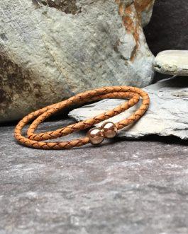 Tan Braided Leather Double Wrap Bracelet