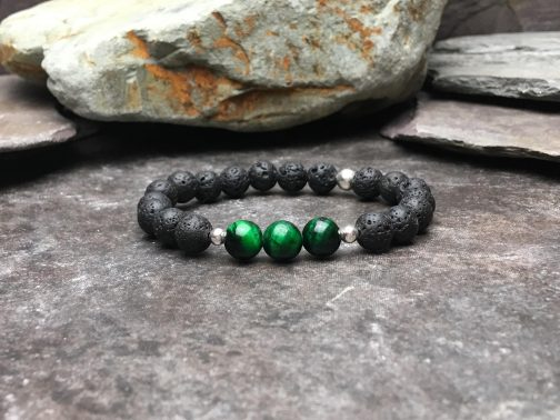 Green Tigers Eye and Lava Stone Diffuser Bracelet
