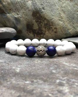 10mm howlite and lapis lazuli bracelet