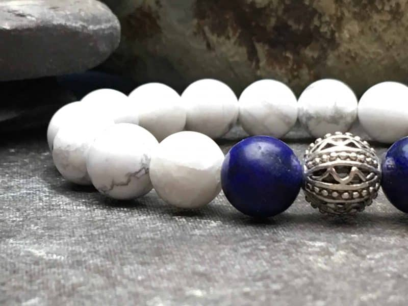 Howlite Beaded Bracelet with Lapis Lazuli. 10mm Tibetan Style