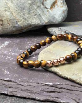 Tigers Eye & Rose Gold Plate 6mm Bead Bracelet