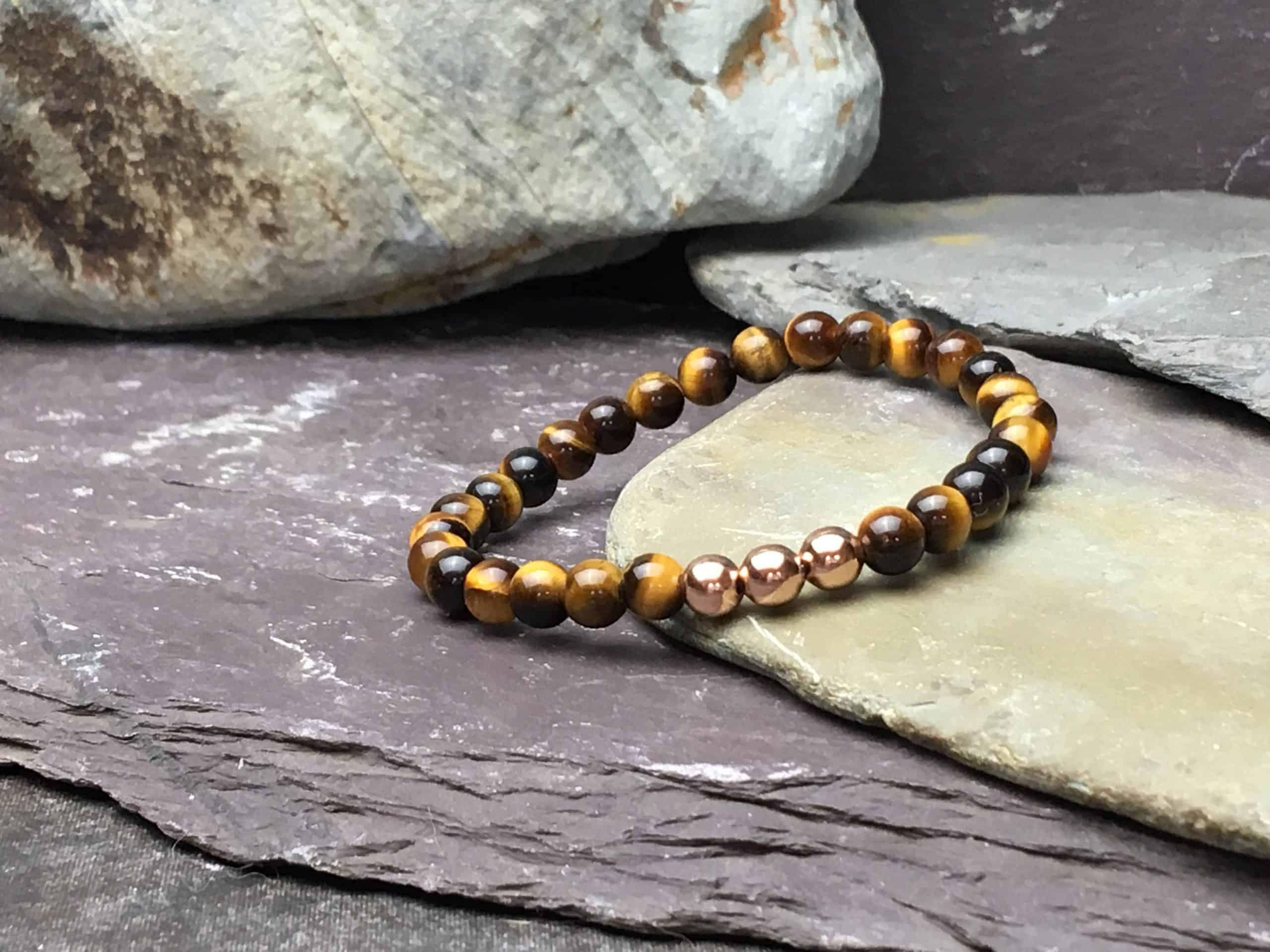 Tigers Eye & Rose Gold Plate 6mm Bead Bracelet