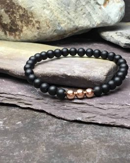Onyx & Rose Gold Plate 6mm Bead Bracelet