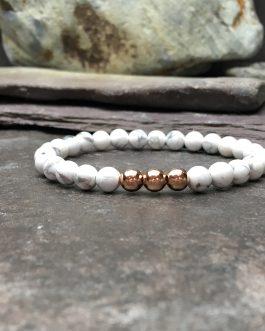 Howlite & Rose Gold Plate 6mm Bead Bracelet